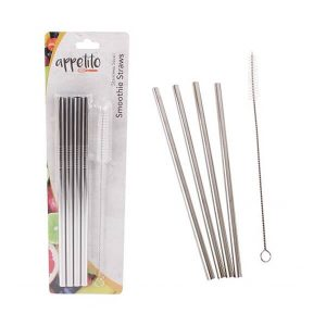 Stainless Steel Straight Smoothie Drinking Straws